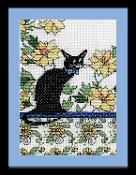 Design Works Yellow Floral Cat counted cross stitch picture kit
