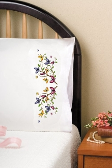 Tobin Home Crafts Butterflies pillowcases stamped for embroidery