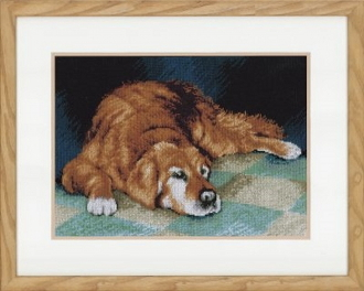 Lanarte Animals Collection, Sleeping Dog counted cross stitch picture kit