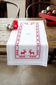 Vervaco - Red Reindeers Table Runner stamped for cross stitch kit with threads