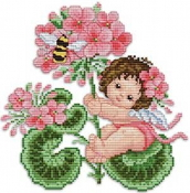 Ellen Maurer-Stroh Geranium Fairy Counted Cross Stitch pattern - A pretty baby angel sitting on a Geranium