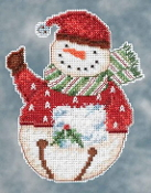 Mill Hill Snowbells - Flurry Snowman Debbie Mumm Christmas Ornament beaded counted cross stitch kit