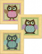 Vervaco - Funny Owls Trio counted cross stitch kit