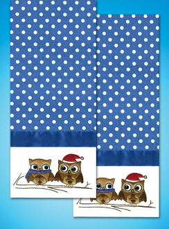 Tobin Home Crafts - Owls Towels stamped for embroidery - A cute pair of owls to embroider