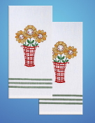 Tobin Home Crafts - Daisy Kitchen Towels stamped for embroidery - A cute pair of birds to embroider