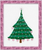Riolis - Christmas Tree with Crystal Balls - beaded counted cross stitch picture kit
