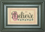 Lizzie Kate Double Flip, Believe Care - Counted cross stitch pattern, chart, charms
