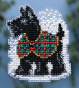 Mill Hill Winter Holiday collection Scottie MH18-4306 Christmas Ornament counted cross stitch kit with treasure