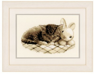 Vervaco - Sleeping Kitten with toy bunny counted cross stitch kit