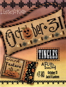 Lizzie Kate Tingles Double Flip October 31 Jack O Lantern Halloween Counted cross stitch pattern chart buttons