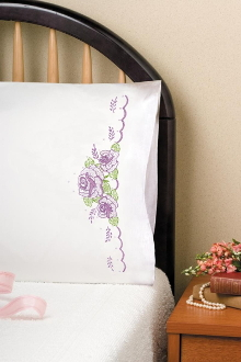 Tobin Home Crafts Lilac Roses pillowcases stamped for embroidery