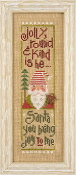 Lizzie Kate Snippet Jolly Round Kind Santa Christmas Counted cross stitch pattern, chart, Gingerbread button