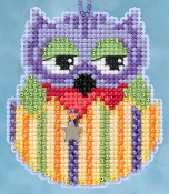 Mill Hill Owlets charmed ornaments - Voilet Owl Easter beaded counted cross stitch ornament kit