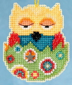 Mill Hill Owlets charmed ornaments - Emma Owl Easter beaded counted cross stitch ornament kit
