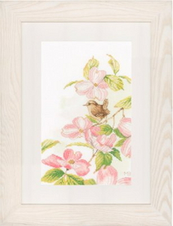 Lanarte Marjolein Bastin collection - Pink Flowers with a Little Bird counted cross stitch kit