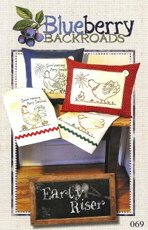 Blueberry Backroads - Early Riser Rooster Hen Hand Embroidery Patterns