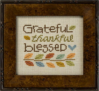 Lizzie Kate Snippet, Grateful Thankful Blessed - Counted cross stitch pattern
