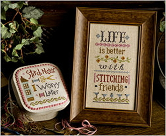 Lizzie Kate Boxer - Life is Better with Stitching Friends counted cross stitch pattern, linen and buttons