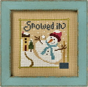 Lizzie Kate Flip-It, Snowed In - Snowman Counted cross stitch pattern chart with button