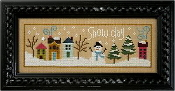 Lizzie Kate Flip-It, Snow Day - Snowman Counted cross stitch pattern chart with button