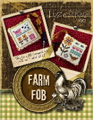 Lizzie Kate Farm Fob counted cross stitch pattern fabric beads