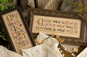Lizzie Kate Boxer - Accept What Is counted cross stitch pattern, linen and buttons