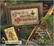 Lizzie Kate Boxer - Come Let Us Adore Him counted cross stitch pattern, linen and buttons