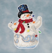 Jim Shore by Mill Hill - Snowman with Lights JS20-1611 Christmas Ornament beaded counted cross stitch kit