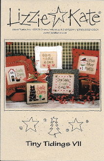 Lizzie Kate Tiny Tidings VII Christmas counted cross stitch chart with embellishments