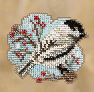 Mill Hill Winter Holiday collection Little Chickadee MH18-1831 Ornament counted cross stitch kit with treasure