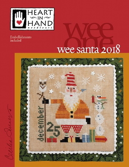 Heart In Hand Wee Santa 2018 Counted cross stitch pattern, chart