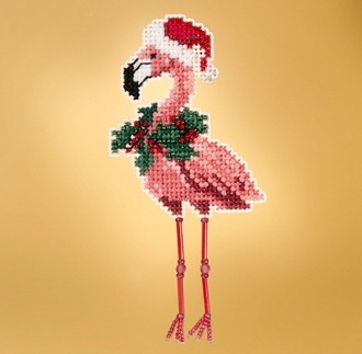 Mill Hill Winter Holiday collection Holiday Flamingo MH18-1935 Ornament counted cross stitch kit with treasure