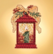Mill Hill Winter Holiday collection Christmas Lantern MH18-1934 Ornament counted cross stitch kit with treasure