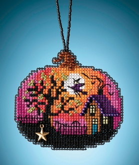 Mill Hill Painted Pumpkins charmed ornaments Bewitching Pumpkin counted cross stitch ornament kit