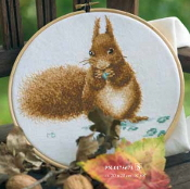 Lanarte Squirrel counted cross stitch picture kit