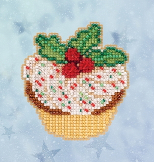 Mill Hill Winter Holiday collection Holly Cupcake MH18-2033 Ornament counted cross stitch kit