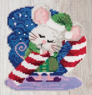 Mill Hill Mouse Trilogy Cindy Cane MH19-2013 Christmas Ornament beaded counted cross stitch kit