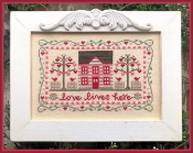 Country Cottage Needleworks Love Lives Here Counted cross stitch pattern chart