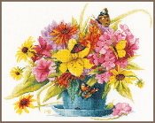 Lanarte Marjolein Bastin Collection - Flowers in Vase Counted Cross Stitch picture kit