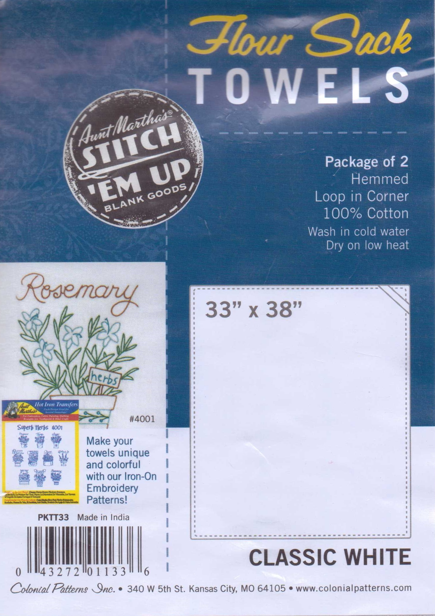 Aunt Marthas Flour Sack Kitchen Dish Towels - Embroidery
