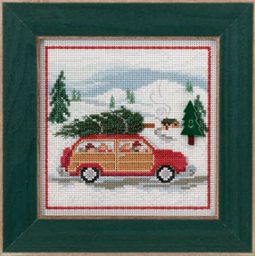 Mill Hill Family Tree MH14-3305 Christmas counted cross stitch kit - A cute Christmas scene of a family with their tree on top of their car