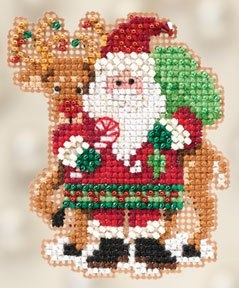 Mill Hill Winter Holiday Santa and Rudolph Christmas Ornament counted cross stitch kit